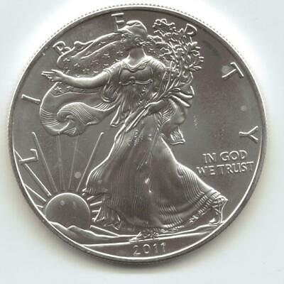 2011  Uncirculated American Silver Eagle  1-Troy oz. .999 Silver. Eagle is Whit9