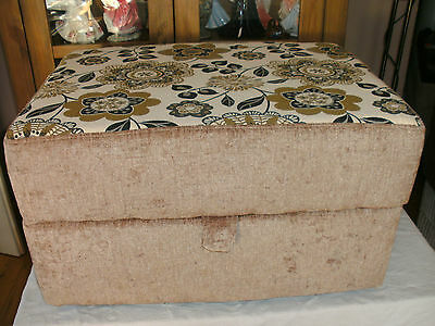 Large  Storage Footstool Mink Chenillewith Green  Floral Top  In  Fabric
