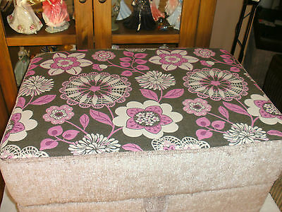 Large  Storage Footstool Mink Chenillewith Pink/brown  Floral Top  In  Fabric