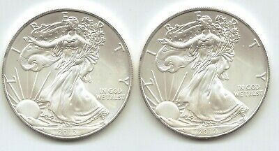 2-2012 Uncirculated American Silver Eagle  1-Troy oz. .999 Silver.