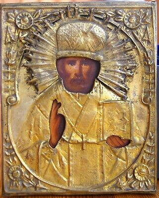 Antique icon of St. Nicholas the Wonderworker, in a brass frame, XIX century