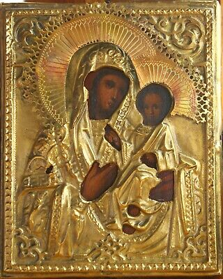 Ancient Orthodox icon of the Blessed Virgin Jesus Christ in brass salary, XIX c