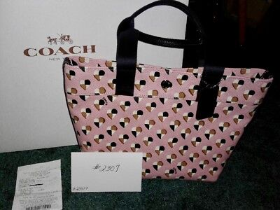 NWT #2307 Coach F25917 CHKR Hearts Canvas Tote In Blush Multi Handbag $195
