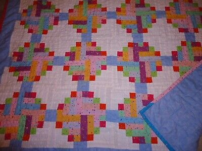 Handmade Vintage Lap Wall Baby Quilt Mixed Rectangle & Block Patchwork Pattern