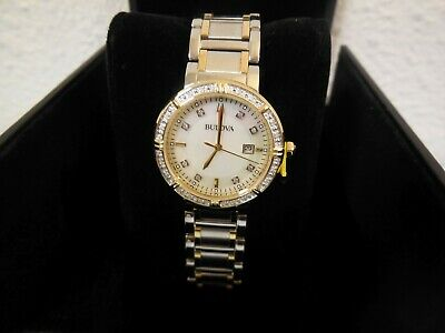 Bulova 98R260 Diamond Accent Two Tone Mother Of Pearl Women's Watch New