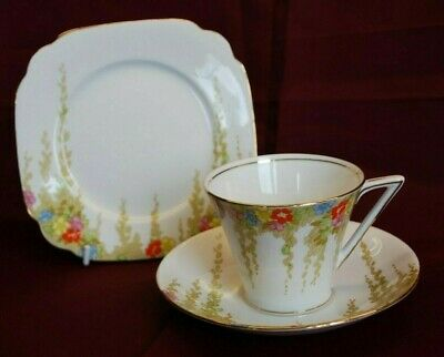 """STANDARD CHINA """"ROSE MARIE (8122)"""" VINTAGE ART DECO TRIO (cup + saucer + plate)"""