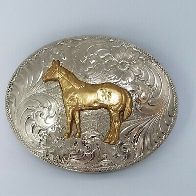 Montana Silversmiths Horse Nickel Cowboy Cowgirl Western Rodeo Belt Buckle USA