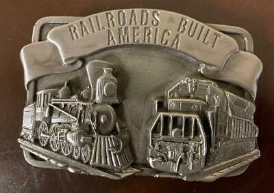 Vintage 1984 Siskiyou Belt Buckle Co P-29 Railroads Built America Train Pewter