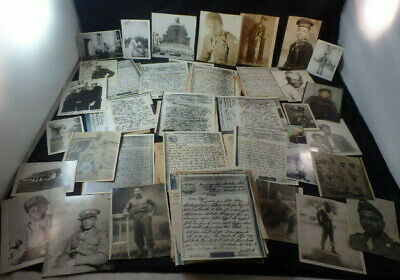 Lot of WWII Photos&45 V-Mail Letters GIs to Elizabeth Harvey IL-Black Americana