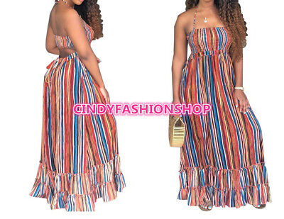 USA Women Colorful Casual Backless Halter Strapless Maxi Long Loose Dress #B