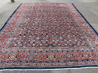Old Hand Made Traditional Persian Rugs Oriental Wool Blue Large Carpet 381x298cm