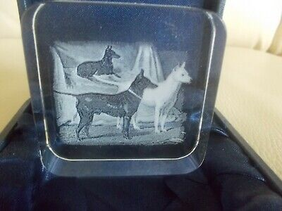 Trio of English Terriers Poised, Glass Paperweight, NIB, Laser Image, Mint, Rare