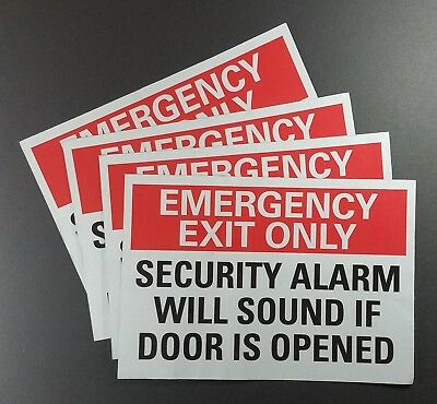 """3pcs EMERGENCY EXIT ONLY - SECURITY ALARM WILL SOUND IF DOOR...  7""""x10"""" 34RJ16."""