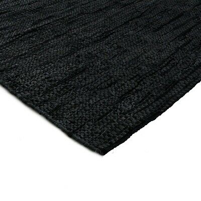 RugsBeyond - Black Leather Hand Woven Mat/Area Rug [Reversible]