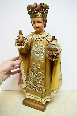 "+ Older Plaster Church Statue - 22"" Infant of Prague + (CU533) Jesus"