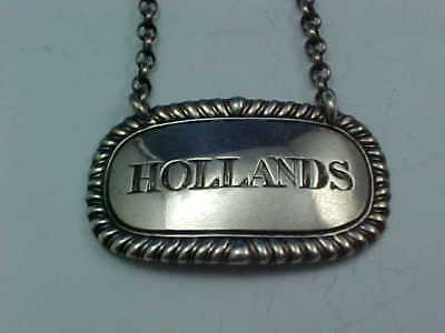 "1817 SCOTTISH STERLING SILVER DECANTER WINE LABEL ""HOLLANDS"" McHATTIE EDINBURGH"