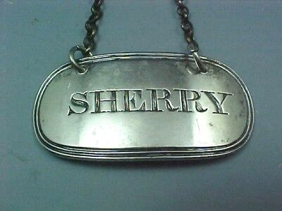 "SCOTTISH STERLING SILVER DECANTER LABEL ""SHERRY"" W P CUNNINGHAM c1790s EDINBURGH"