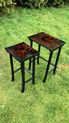 Beautiful Vintage Pair Set Of Chinese Black Wooden Tables With Bird Design *