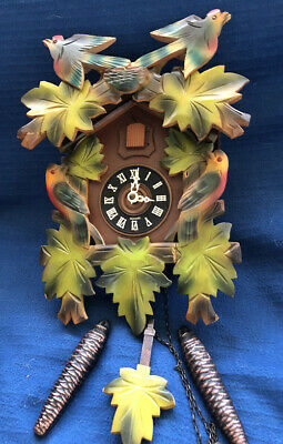"""Vintage West Germany Cuckoo Clock Bought there in 50s keeps on ticking """"Coo Coo"""""""