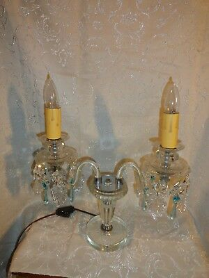 VTG 2-Arm Crystal Candelabra Lamp 30% Lead Crystal Blue drops Clear Leaves