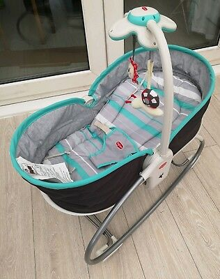 Tiny love 3 in 1 rocker baby napper blue seat soft sleeping musical