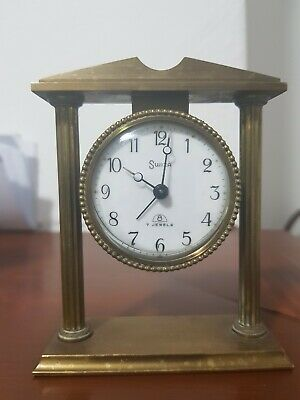 Vintage Swiza 8 Day Mantel Clock Swiss Made 7 jewels