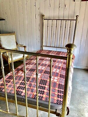 Antique Brass Bed Single Size Circa Late 1800's