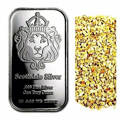 1 Troy Oz .999 Silver Scottsdale Mint Bar Bu +10 Piece Alaskan Pure Gold Nuggets
