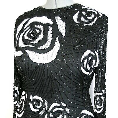 Vtg Swee Lo black & white sequined & beaded top with rose design 100% silk