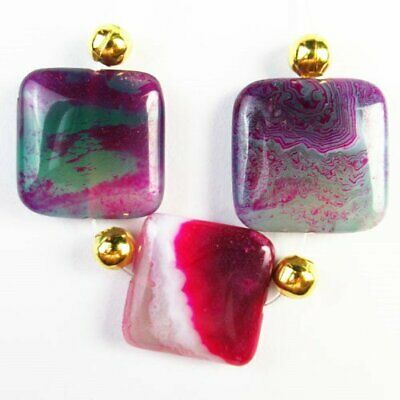 3Pcs/Set 20x6mm Purple Green Stripes Agate Square Pendant Bead A76974