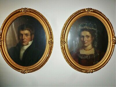 Pair 19Th Century Antique American Portrait Oil Paintings  Husband & Wife