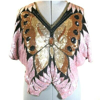 Vtg Swee Lo butterfly sequined top bat wing sleeve, poncho style 100% Silk