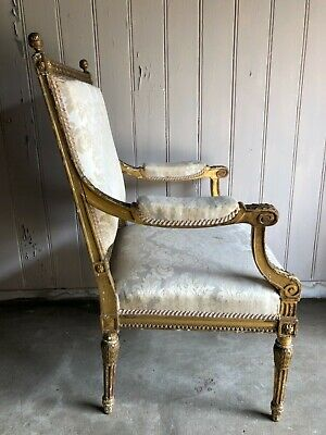 Antique Carved Gilded Wood Armchair French/Continental Style 1890's Cream Cover