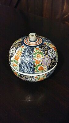 Japanese Hand Painted Imari Tureen Covered Lidded Rice Soup Bowl Unique