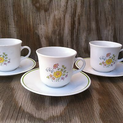 Corelle Dishes Meadow White Floral Cups & Saucers 3 Sets
