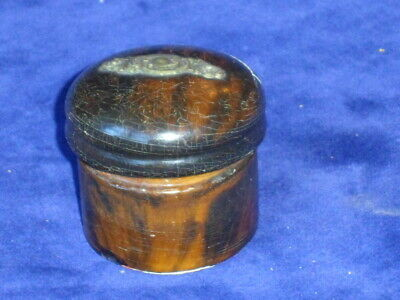Small Round Antique Wooden Patch Box - 19th c - Turned Wood & Inset Metalwork