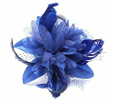 Flower Net and Feathers Blue Hair Fascinator On A Clear Comb - Wedding Proms...