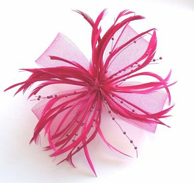 Hot Pink Net Bow and Feathers Hair Beak Clip Brooch Corsage Fascinator Bridal