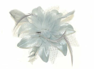 Silver grey chiffon flower and feather fascinator on comb - weddings & parties