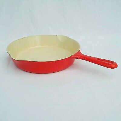 Griswold Enamaled Cast Iron Pan No 6 Red Cream Vintage