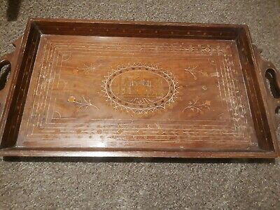 Antique vintage wooden indian serving tray with inlay. Taj mahal