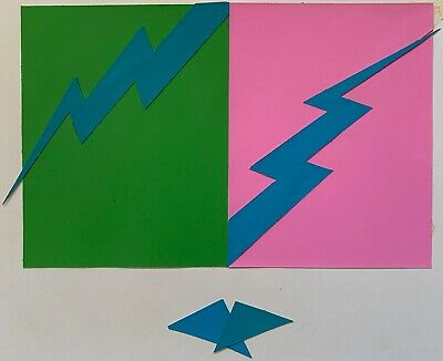 Vintage Abstract Geometric Paper Art Collage Wall Hanging Mid Century Modern - 2