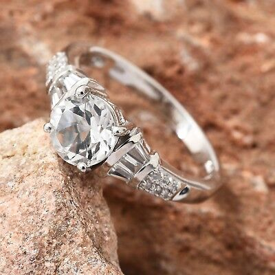 White Topaz Platinum Over Sterling Silver Ring (Size 10.0) TGW 2.74 cts.