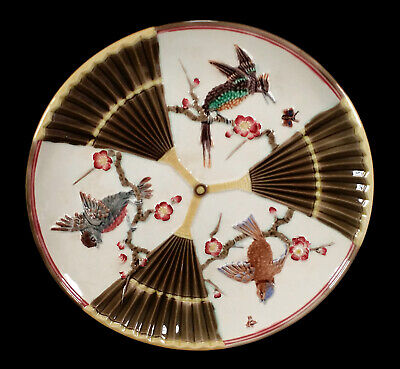 Antique English Wedgwood Majolica Pottery Plate Bird & Fan Pattern Japonesque