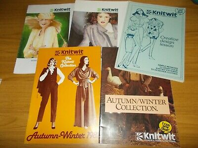 VINTAGE~KNITWIT MANUALS & CATALOGUES x 5~HOW TO SEW WITH KNIT FABRICS~1980's