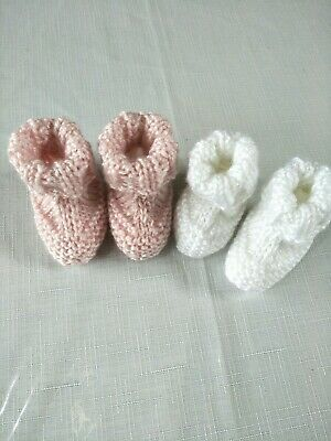 Newborn Baby Hand Knit White Pink Bootee/Sock/Shoe 0-3 mth 0000 2pk other sizes