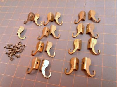 9 Pairs Window Shade Blind Bracket Holders with Screws Brass Plated Vintage