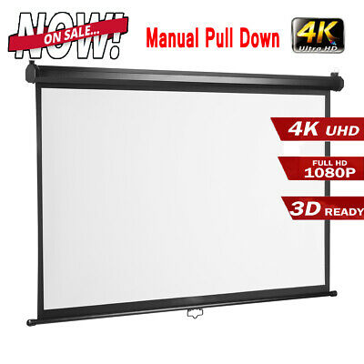 100'' 16:9 1080P HD Projector Projection Screen Manual Pull Down for Home Office