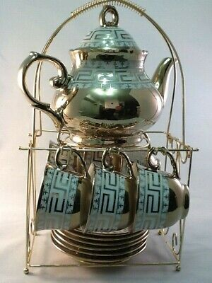 13 pc Chinese Tea Sets ! Tea Pot & 6 Cups Saucers Rack.Gold Lines 3 oz Cups Gift