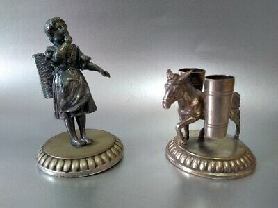 Antique WMF silver plated Toothpick Holder set Girl & Donkey